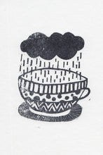 Rainy Mug Handprinted Illustration
