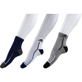 Adidas Half Cushion High Ankle Mens Socks - Pack of 3 ( Grey/White/Blue)