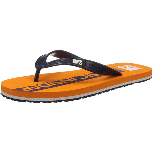 MTV Men's Orange and Navy Blue Flip Flops Thong Sandals