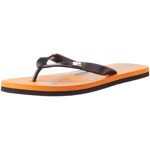 MTV Men's Orange and Black Flip Flops Thong Sandals