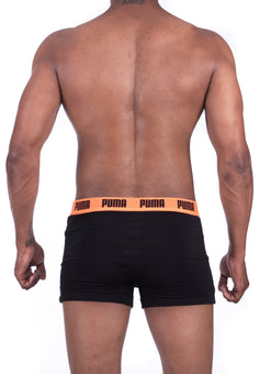 Puma Designer Men's Black and Orange Boxer Trunks