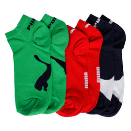 Puma Low Cut socks - Pack of 3 ( Red/Green/Navy)