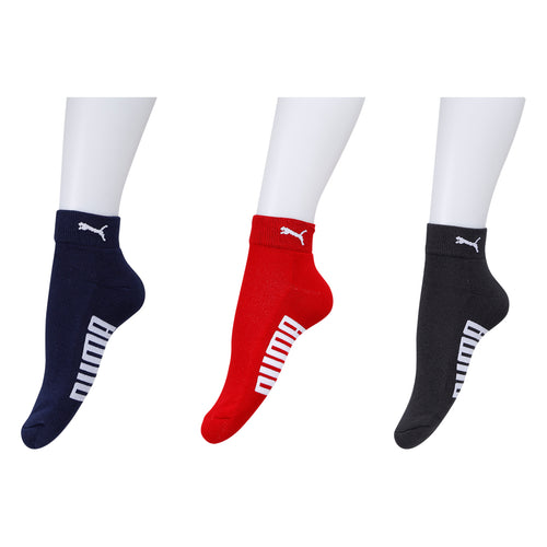 Puma Ankle Terry Socks - Pack of 3 (Dark Grey/Red/Navy)