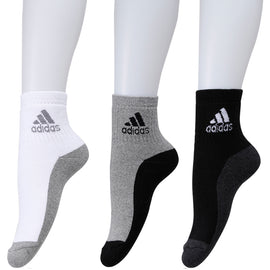 Adidas Full Cushion high Ankle Socks - Pack of 3 (Grey/Black/White)