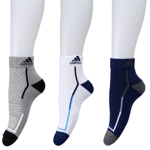Adidas half Cushion high Ankle Socks - Pack of 3 ( Grey/White/Blue Depth)