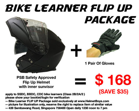 SSDC BBDC CDC bike learner flipup modular motorcycle helmet package