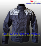 3M Motorcycle Waterproof Rainjacket BLACK reflective SCOTCHLITE™ front view