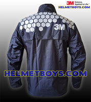 BLACK 3M Motorcycle Waterproof Rainjacket reflective SCOTCHLITE™ back view