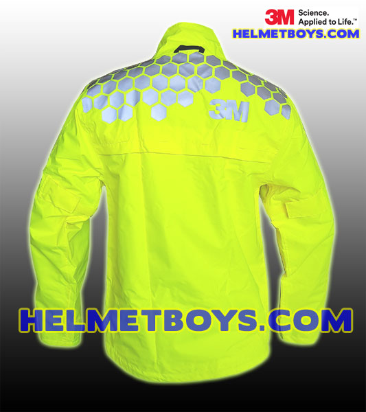 3M Motorcycle Waterproof Rainjacket yellow back reflective SCOTCHLITE™