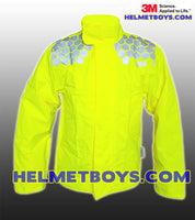 Front 3M Motorcycle Waterproof Rainjacket yellow reflective SCOTCHLITE™