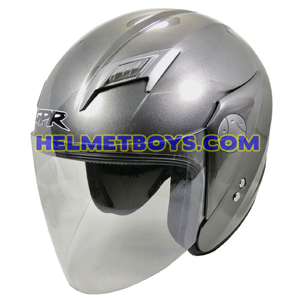 GPR GS08 JET motorcycle helmet grey slant view