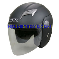 GPR GS08 JET motorcycle helmet matt black slant view