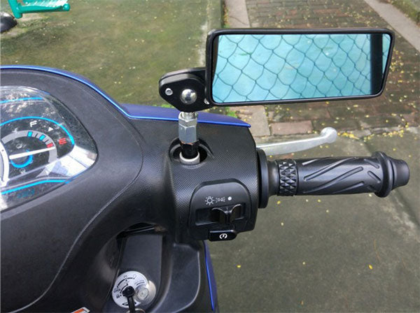 Motorcycle Rearview Side Mirrors Rectangle install
