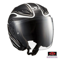 KABUTO AVAND2 STAID open face motorcycle helmet matt black white front view