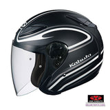 KABUTO AVAND2 STAID open face motorcycle helmet matt black white side