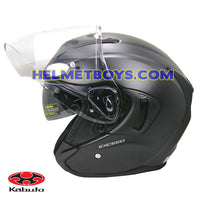 KABUTO EXCEED sunvisor motorcycle helmet matt black visor up view