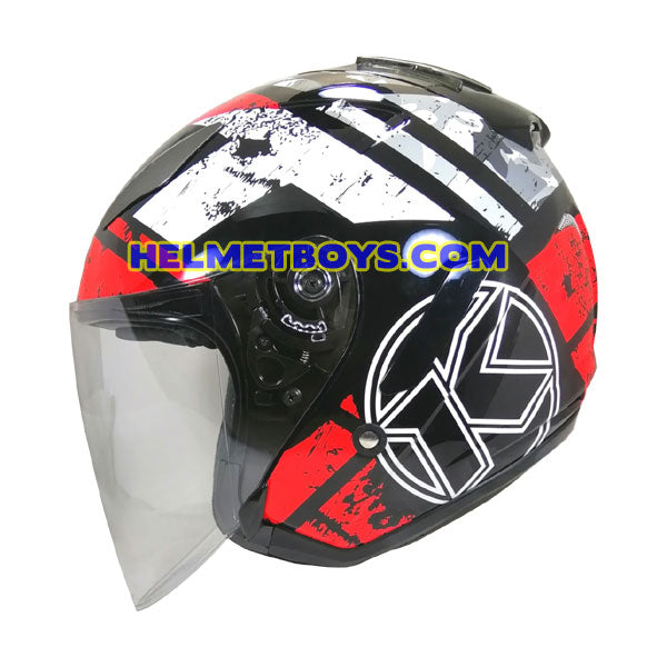 KYT Motorcycle Helmet HELLCAT BLACK RED FLUO side view