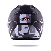 KYT HELLCAT MIMETIC grey Motorcycle Helmet back full view