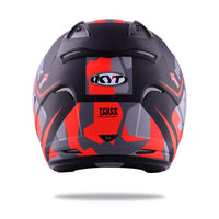 KYT HELLCAT MIMETIC red Motorcycle Helmet back full view
