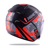 KYT HELLCAT MIMETIC red Motorcycle Helmet back flip view