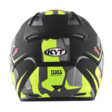 KYT HELLCAT MIMETIC yellow Motorcycle Helmet back full view