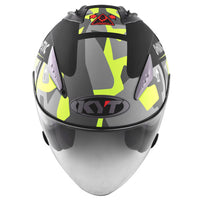 KYT HELLCAT MIMETIC yellow Motorcycle Helmet front view