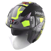 KYT HELLCAT MIMETIC yellow Motorcycle Helmet slant view