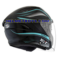 KYT NFJ Motorcycle Helmet RADAR series aqua blue back view