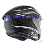 KYT NFJ Motorcycle Helmet RADAR series black white back view