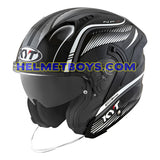 KYT NFJ Motorcycle Helmet RADAR series black white slant view
