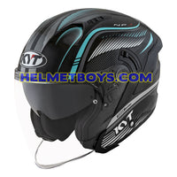 KYT NFJ Motorcycle Helmet RADAR series aqua blue slant view