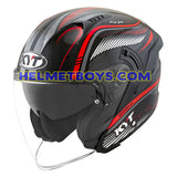 KYT NFJ Motorcycle Helmet RADAR series black red slant view