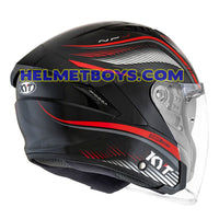 KYT NFJ Motorcycle Helmet RADAR series black red back flip view