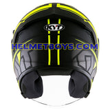 KYT NFJ Motorcycle Helmet MOTION FLUO matt yellow back view