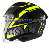 KYT NFJ Motorcycle Helmet MOTION FLUO matt yellow backflip view