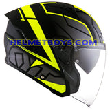 KYT NFJ Motorcycle Helmet MOTION FLUO matt yellow side view