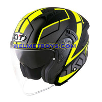 KYT NFJ Motorcycle Helmet MOTION FLUO matt yellow slant2 view