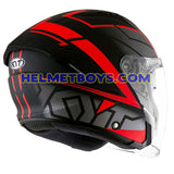 KYT NFJ Motorcycle Helmet MOTION FLUO matt red back view