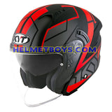 KYT NFJ Motorcycle Helmet MOTION FLUO matt red slant view