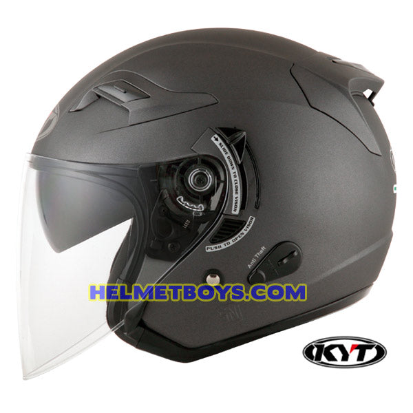KYT VENOM Motorcycle Helmet SOLID COLORS ANTHARCITE MATT side view