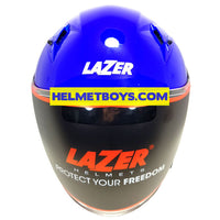 LAZER JH3 sunvisor motorcycle helmet glossy blue front view