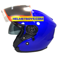 LAZER JH3 sunvisor motorcycle helmet glossy blue side view
