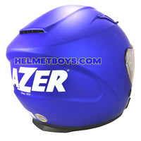 LAZER JH3 Motorcycle Sunvisor Helmet Matt blue backflip view