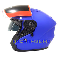 LAZER JH3 Motorcycle Sunvisor Helmet Matt blue side visor view