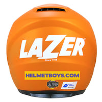 LAZER JH3 Motorcycle Sunvisor Helmet Matt orange side back view