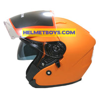 LAZER JH3 Motorcycle Sunvisor Helmet Matt orange side visor view