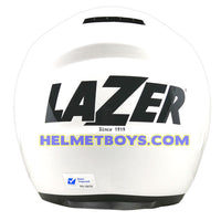LAZER JH3 sunvisor motorcycle helmet glossy white back full view
