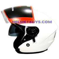 LAZER JH3 sunvisor motorcycle helmet glossy white side view