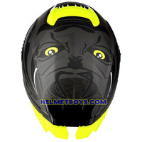 LAZER TANGO sunvisor motorcycle helmet graphics design ONI grey top view