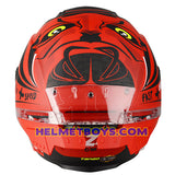 LAZER TANGO sunvisor motorcycle helmet graphics design ONI RED back view